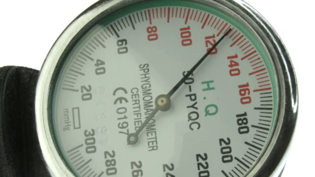 Blood Pressure gauge, Sphygmomanometer Closeup of sphygmomanometer while checking blood pressure. Recorded by the camera RED scarlet at 2k. Color correction professionally done. blood pressure gauge stock videos & royalty-free footage