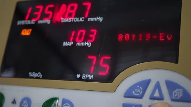 Blood pressure Measurment Blood Pressure monitor data . blood pressure gauge stock videos & royalty-free footage