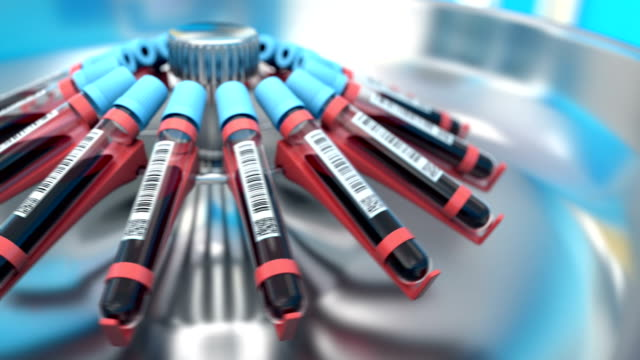 Blood samples in the test tubes in the centrifuge video