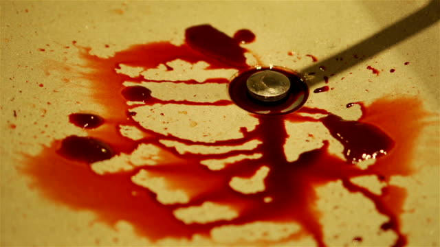 blood stained at sink