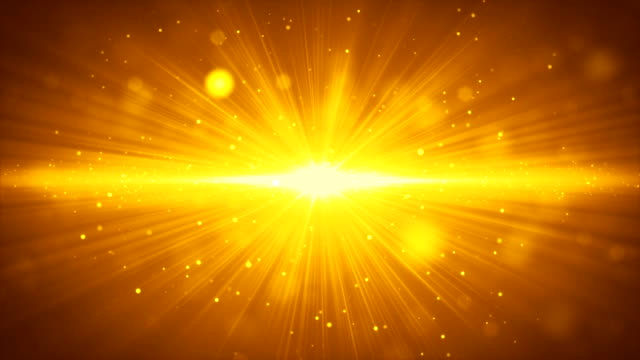 bloom glowing gold light stripe and particles background motion video