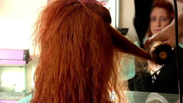 Blow-dry Blow-dry. HD 1080i. dyed red hair stock videos & royalty-free footage