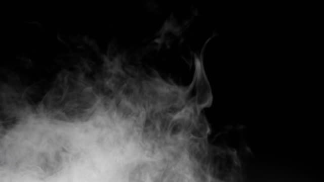 blowing horizontal steam with white smoke rise in slow motion  on black blowing horizontal steam with white smoke rise in slow motion  on black background steam stock videos & royalty-free footage