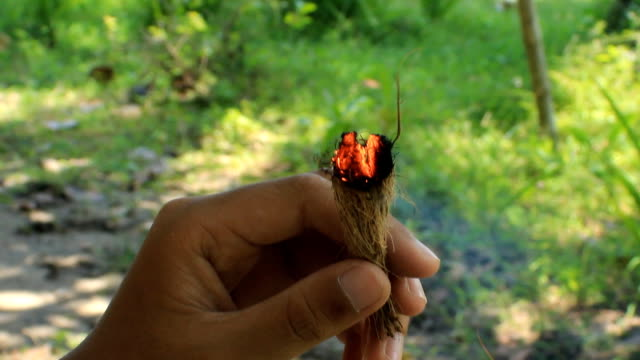 blowing tinder for make fire - kokosfiber bildbanksvideor och videomaterial från bakom kulisserna