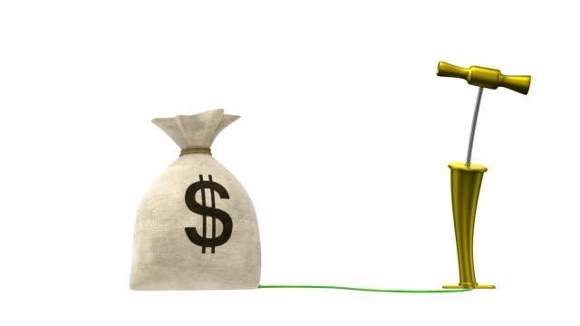 blasen die moneybag. alpha-maske. hd 1080. - dollarsymbol stock-videos und b-roll-filmmaterial