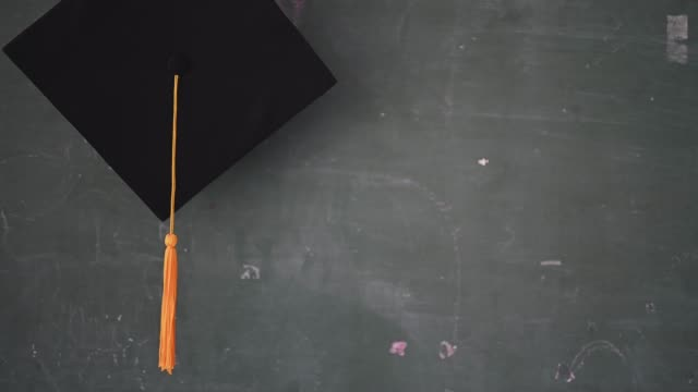 blown black hats and yellow tassels of graduates - tocco accademico video stock e b–roll