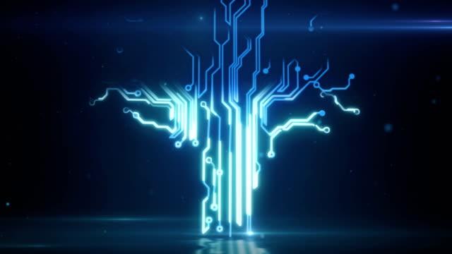 blaue abstrakte platine elektronische high-tech-wachsender baum - vereinen stock-videos und b-roll-filmmaterial