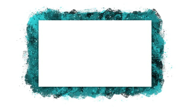 Blue and black paint spatter animated frame,  isolated on a white background. Stop motion animation with copy space.