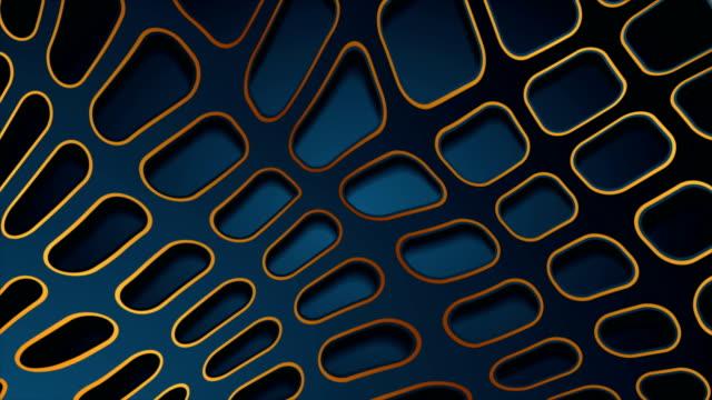 stockvideo's en b-roll-footage met blauwe en bronzen papercut 3d grid abstracte video animatie - naadloos patroon