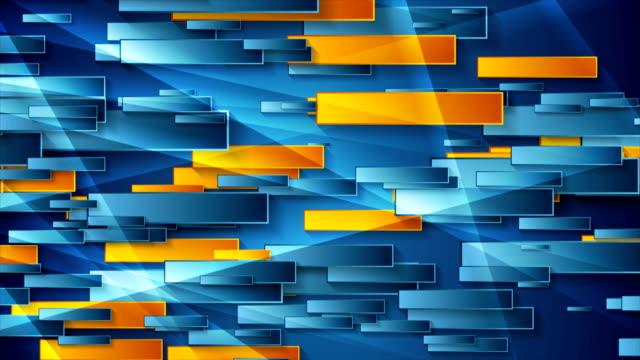 blue and orange glossy geometric abstract video animation - motivo ripetuto video stock e b–roll