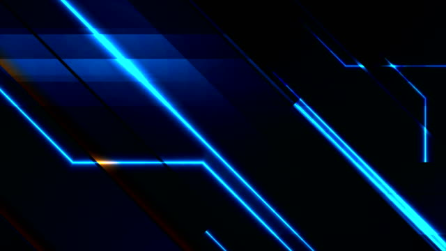 Blue and orange technology video animation with glowing neon lines