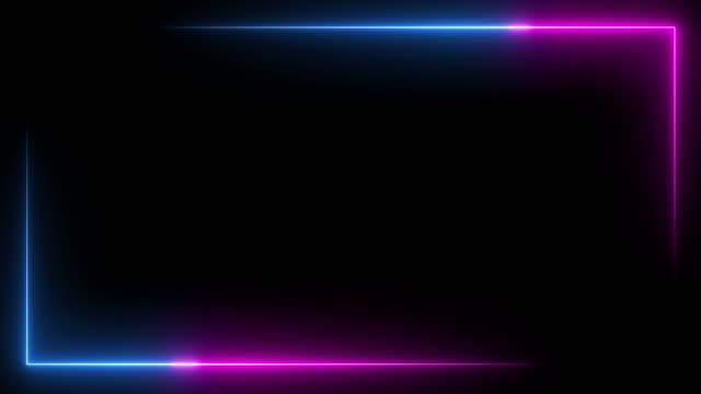 ブルーとピンクのネオンビームライトフレームが点灯します。 - フレーム点の映像素材/bロール