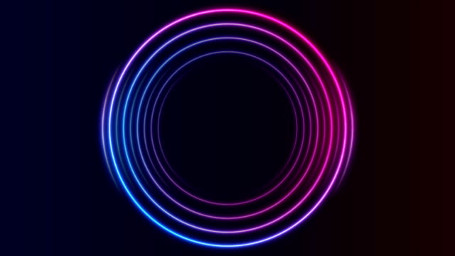 Blue and purple neon circles abstract futuristic motion background