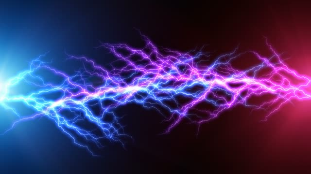 Blue and red lightning arc electric discharge Creative abstract 3D render illustration of the blue and red lightning arc hit strike electric discharge light effect on dark black background short length stock videos & royalty-free footage