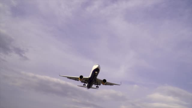 A blue and white commercial jet lands overhead