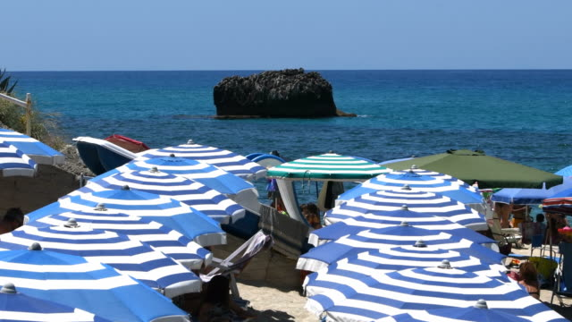 blue and white umbrellas lined up close to the sea - tropea video stock e b–roll