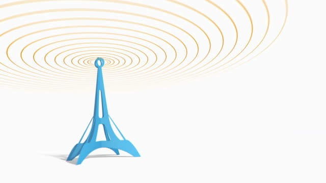 Blue antenna tower with radiowave signal. video
