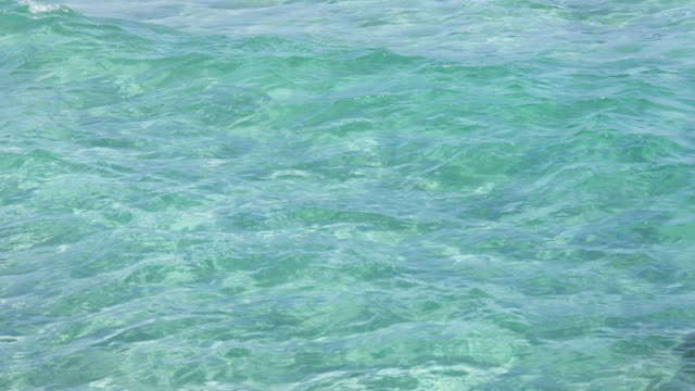 Blue aquamarine sea flowing water surface with waves video