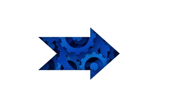 blue arrow and rotating gears abstract technology concept loop animation - zagadnienia filmów i materiałów b-roll