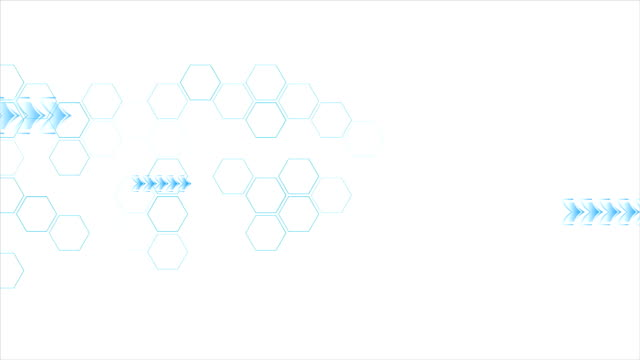 Blue arrows and hexagons motion on white background video