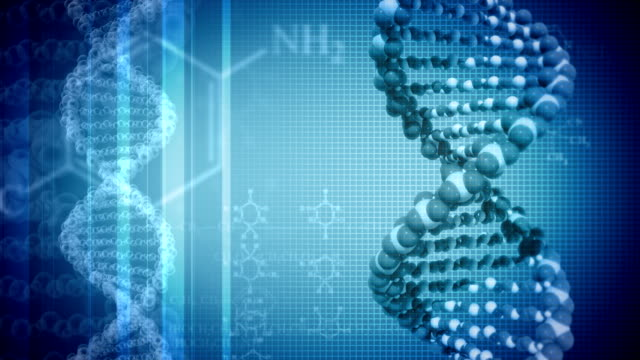 Blue background with rotating DNA video