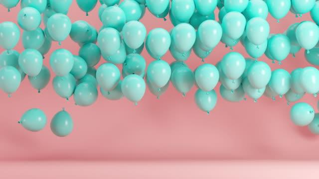 голубые воздушные шары, плавающие в розовом фоне комнаты. минимальная идея концепции 3d анимации. - в стиле минимализма стоковые видео и кадры b-roll