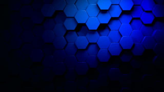 blue beautiful hexagons on surface morphing in seamless 4k abstract motion design background 3d animation per i concetti di tecnologia, comunicazione, transizioni, eventi party-social, eventi di celebrazione, finanza, dati, web e mobile - esagono video stock e b–roll