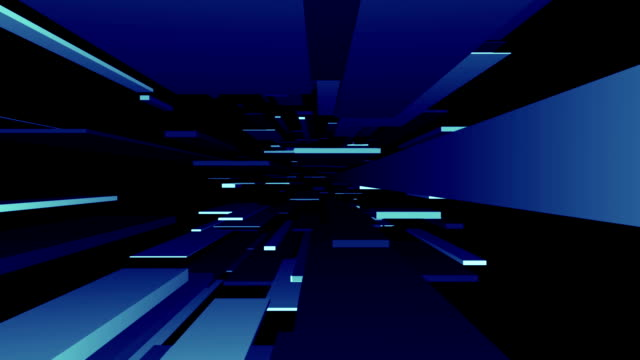 Blue Blocks Tunnel Loop | Abstract Futuristic Animation video
