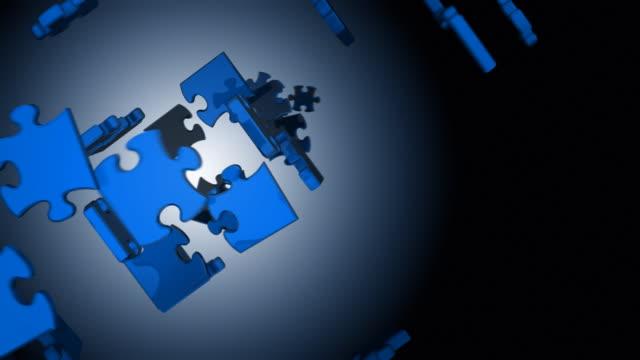 stockvideo's en b-roll-footage met blue box puzzles - legpuzzel