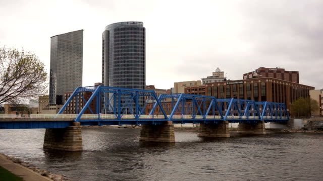 Blue Bridge Grand River Rapids Michigan Downtown City Skyline video