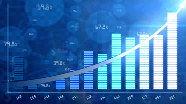 Blue business growing chart for annual report video