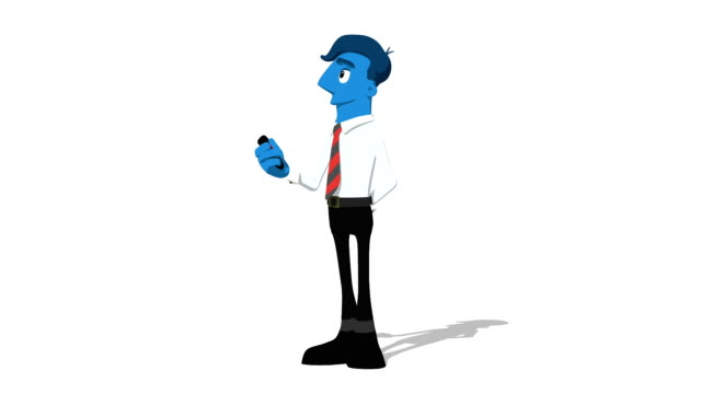Blue Businessman 'Presentation clicker' Connectable Character Animation video