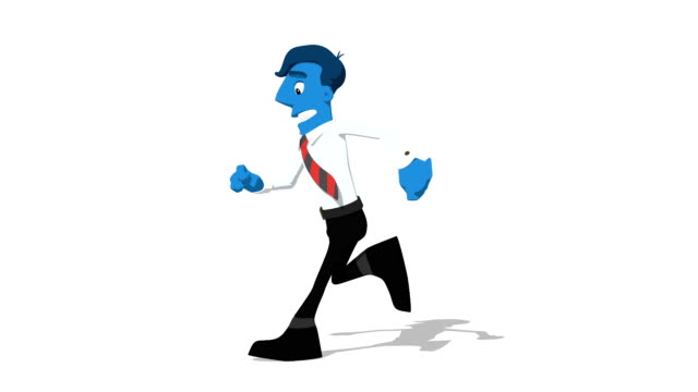 Blue Businessman 'Run screen left' Connectable Character Animation video