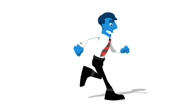 Blue Businessman 'Run screen right' Connectable Character Animation video