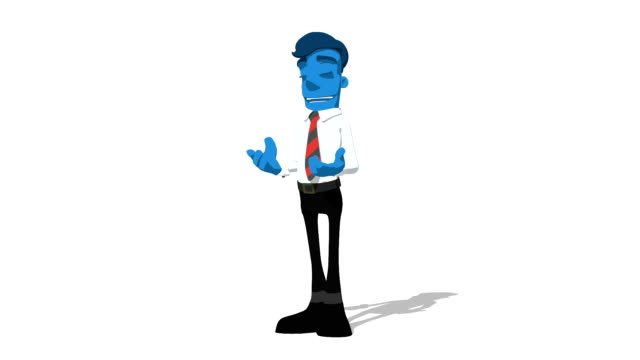 Blue Businessman 'Talking with gestures' Connectable Character Animation video