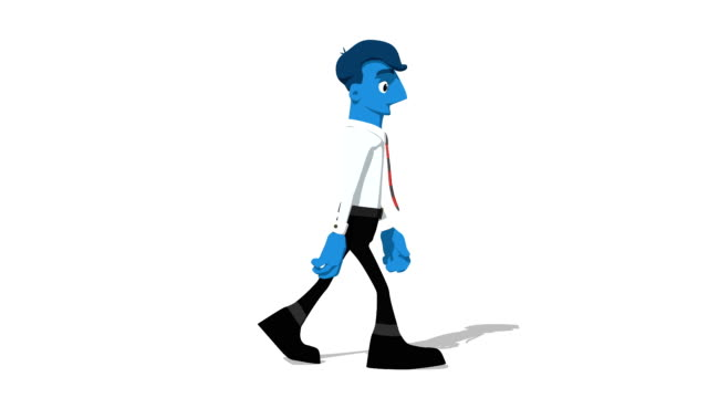 Blue Businessman 'Walk screen right' Connectable Character Animation video