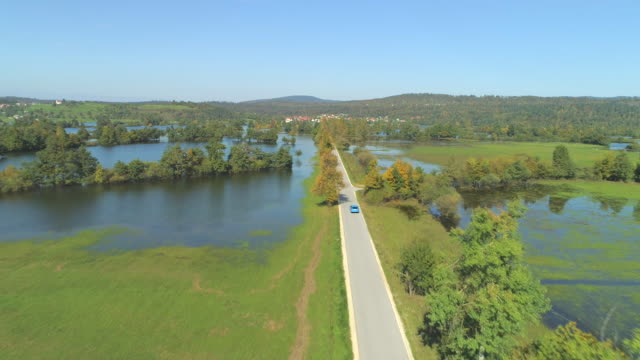 AERIAL: Blue car cruising past flooded countryside on sunny autumn afternoon. video