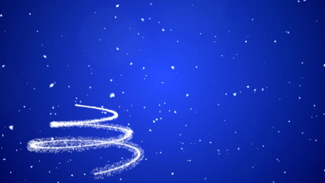 Blue Christmas Tree Animated Background With Snow video