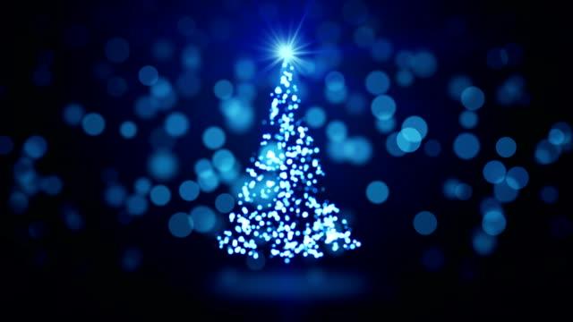 blue christmas tree blurred lights loopable video