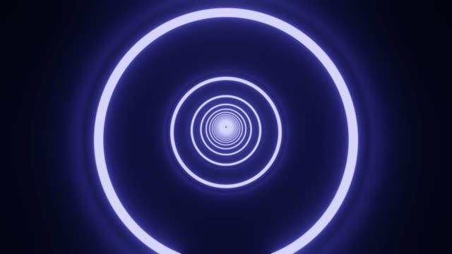 Blauwe cirkel neontunnel. Loopable abstracte achtergrond. video