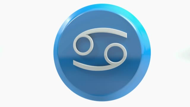 zodiac cancer icon blaukreis-knopf-3d-rendering-illustration - kalender icon stock-videos und b-roll-filmmaterial