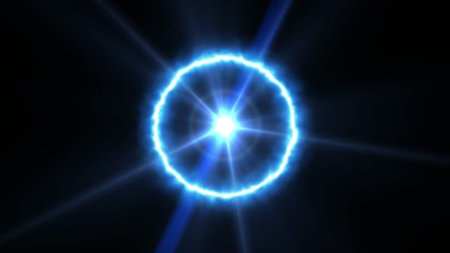 Blue circle with glowing core.Abstract digital flrare background with blue neon box circle.Ring of power with lens flare effect.Abstract neon background. Glowing circle frame