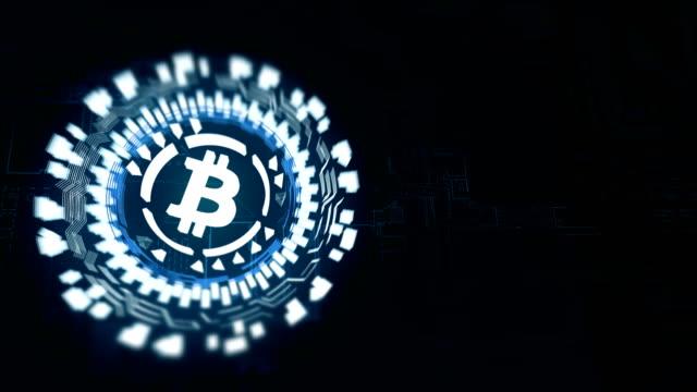 stockvideo's en b-roll-footage met blauwe ronde hologram roterende bitcoin - bitcoin