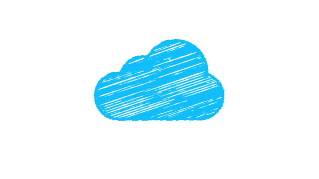 blue cloud computing icon painted with chalk on white background, hand drawn animation 4K video