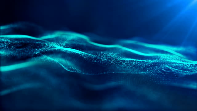 Blue Color digital wave particles flow and dust abstract cyber space environment background Blue Color digital wave particles flow and dust abstract cyber space environment background. wave pattern stock videos & royalty-free footage