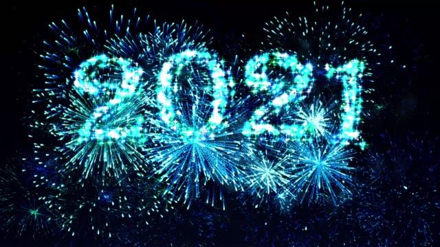 Blue Color Fireworks Display countdown 2021 4K. video