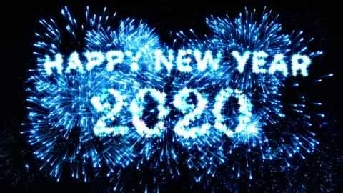 Blue Color Fireworks Display Happy new year 2020 4K. Blue Color Fireworks Display Happy new year 2020 4K. happy new year stock videos & royalty-free footage