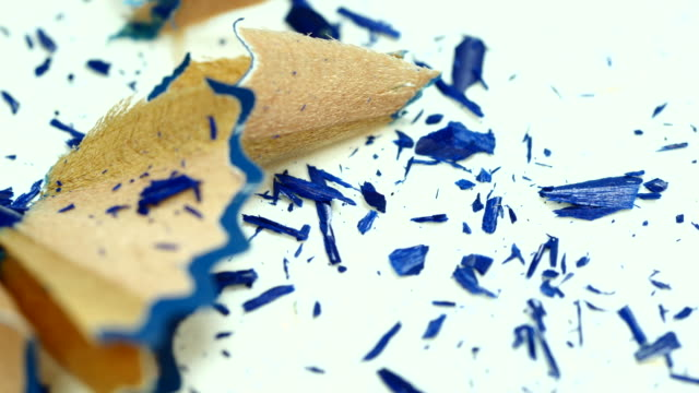 Blue color pencil sharpening. Front view. Close up. video