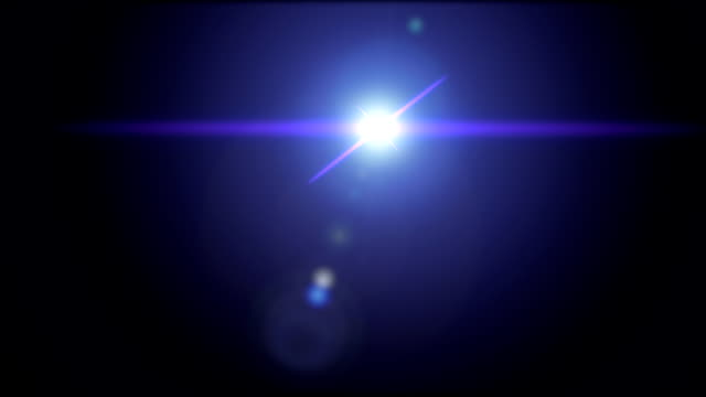 Blue colored lens flare effect animation on black background