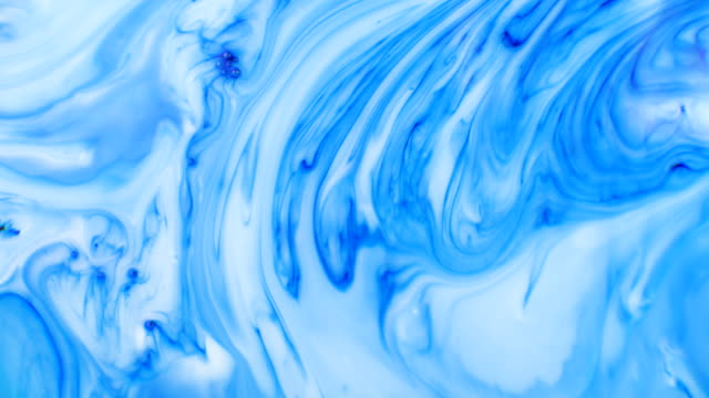 Blue Colorful Ink And Paint Liquid Reaction abstract cloud background